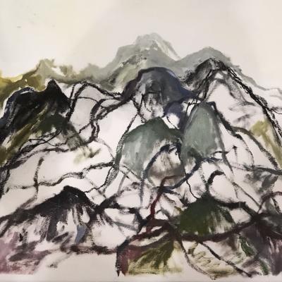 Swerve, 2018, Oil on Paper